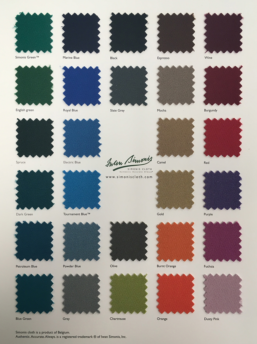 Simonis Billiard Cloth - Simonis pool table felt colors